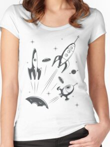 retro cosmo (white t-shirt) Women's Fitted Scoop T-Shirt