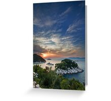 Sunset over island Mljet Greeting Card