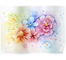 Flower Power Watercolor Rainbow Flowers Poster