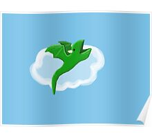 Baby dragon  with cloud Poster