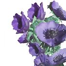 purple blue anemones by aquaarte
