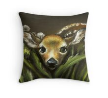 Peek-a-boo! little fawn by Tanya Bond Throw Pillow