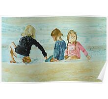 Girls at the beach, watercolo on yupo paper Poster