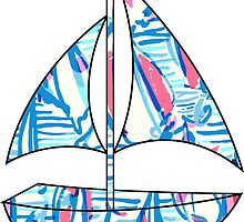 Lilly Pulitzer Inspired Sailboat Red Right Return by mlr28blu