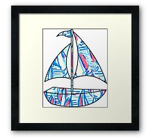 Lilly Pulitzer Inspired Sailboat - Red Right Return Framed Print