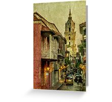 Vintage Grunge Urban View of Cartagena Architecture Greeting Card