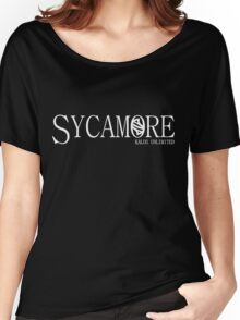 Sycamore: Kalos Unlimited White Women's Relaxed Fit T-Shirt