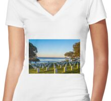 PEACE AND MEMORIES Women's Fitted V-Neck T-Shirt