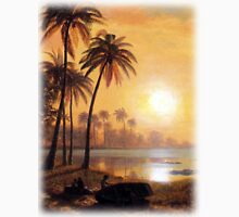 Bierstadt Albert tropical Landscape with Fishing Boats in Bay.  Breathtaking landscape oil painting fine art.   Unisex T-Shirt