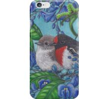 """""""Red Capped Robins Awaiting Dinner Guest"""" iPhone Case/Skin"""