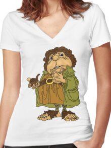 Old School Bilbo Baggins Women's Fitted V-Neck T-Shirt
