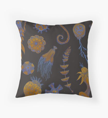Sea Ballet in Psychedelic Colors, more apologies to Ernst Haeckel Throw Pillow