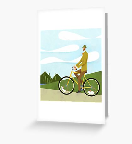 Tweed Cyclist on Mice Power Poster Greeting Card