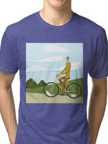 Tweed Cyclist on Mice Power Poster Tri-blend T-Shirt