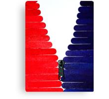 Red-White-Blue Popsicle Sticks Zip Canvas Print
