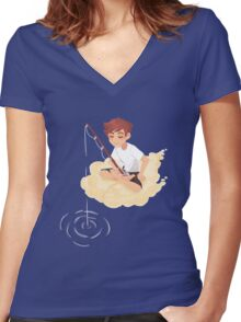 Cloud Fishing Women's Fitted V-Neck T-Shirt