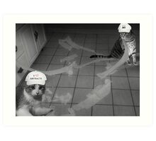 FELINE ABSTRACT ARTISTS..HUMOUR PICTURE..JUST FOR THE FUN OF IT LOL.. Art Print