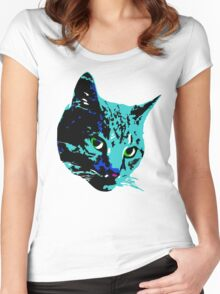 Electric Blue Tabby Face Women's Fitted Scoop T-Shirt