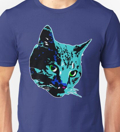 Electric Blue Tabby Face Unisex T-Shirt