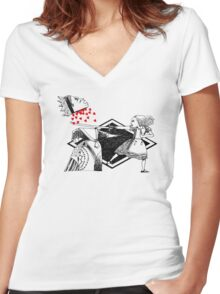Alice vs. The Red Queen Women's Fitted V-Neck T-Shirt