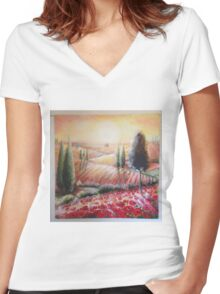 tuscany light Women's Fitted V-Neck T-Shirt