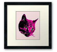 Electric Pink Tabby Face Framed Print
