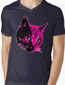 Electric Pink Tabby Face Mens V-Neck T-Shirt
