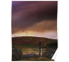 Stormy Clouds Over A Scottish Wind Farm. Poster