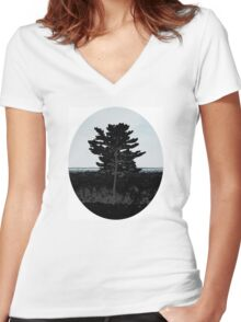 Lonely Tree Women's Fitted V-Neck T-Shirt