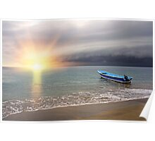 Sunset on the beach with storm coming Poster