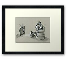 Retro Zebra Framed Print