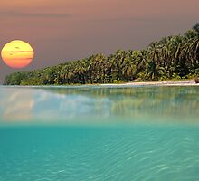 Sunset on tropical beach island by Dam - www.seaphotoart.com