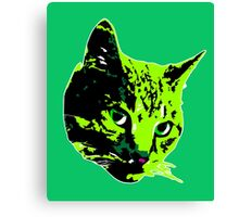Electric Green Tabby Face Canvas Print