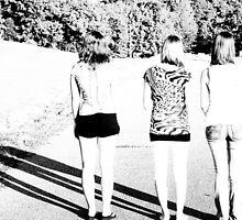 Three girls in a graveyard by cammdesi