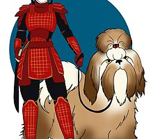 Samurai Girl with a Giant Shih Tzu by CatAstrophe