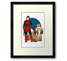 Samurai Girl with a Giant Shih Tzu Framed Print