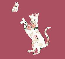 Floral Cat Silhouette Playing with Butterfly by steffirae
