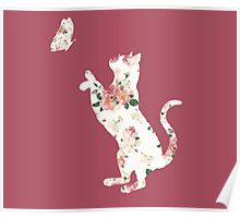 Floral Cat Silhouette Playing with Butterfly Poster