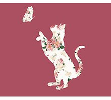 Floral Cat Silhouette Playing with Butterfly Photographic Print