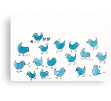 Little Blue birds of happiness Canvas Print