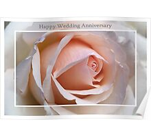 Happy Wedding Anniversary Soft Rose Poster