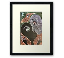 the kiss with moon and bird Framed Print