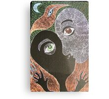 the kiss with moon and bird Metal Print
