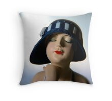 Lady in a Blue Hat Throw Pillow