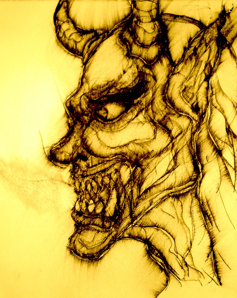 Original drawing of Male Hannya by Joseph Tien
