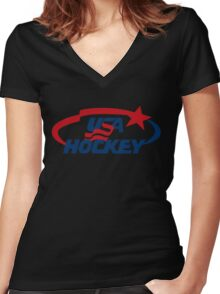 usa funny hockey Women's Fitted V-Neck T-Shirt