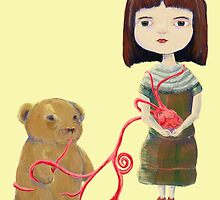 Grendelgirl and bear hold heartvines in Yellow by Feng Chen