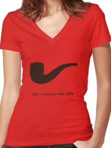 Ceci n'est pas une pipe. Women's Fitted V-Neck T-Shirt