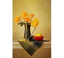Roses in a Green Pitcher Photographic Print