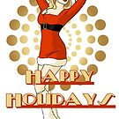 Happy Holidays Christmas Pinup Girl by CatAstrophe